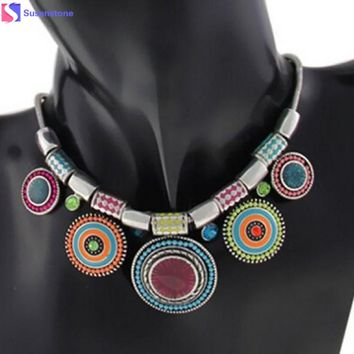 Fashion Choker Necklace 2016 New Ethnic Vintage Silver Plated Colorful Bead Pendant Stat necklace