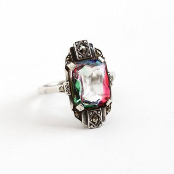 Vintage Art Deco 835 Silver Iris Glass Marcasite Ring - 1930s Size 8 Rainbow Glass White Green Pink Blue Statement Cocktail Ring Jewelry