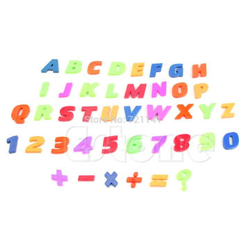 A96 Letters & Numbers Teaching Magnetic Fridge Magnets Alphabet Set Of 42 Colorful
