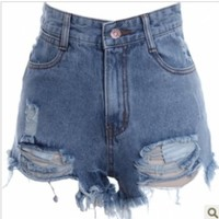 Hole burrs washed do old high-waisted denim shorts | Trave gifts for beauty