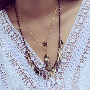 Bohemian Style Bead Mteal Leaf Long Necklaces&Pendants Turkish Ethnic Boho Feather Statement Necklace for Women CN290