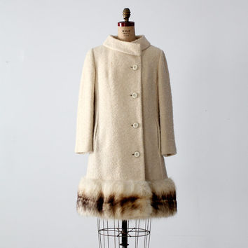 vintage 1960s wool coat with fox fur trim