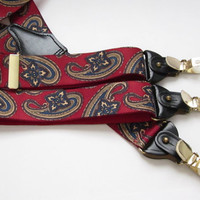 Red Clip Suspenders 1970's German Paisley Button by Trinkets4Muses