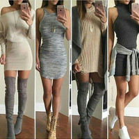 SEXY FOUR STYLE SHOULDER DRESS