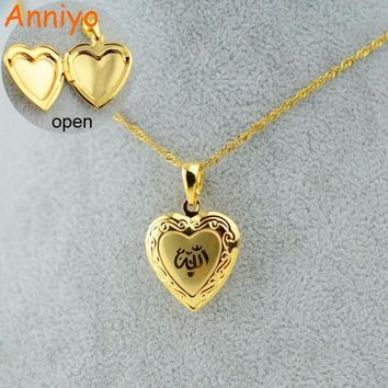 Anniyo Heart Allah Necklace Pendant For Women Muslim Jewelry For Mengold Color Islam Chain Necklaces Prophet Muhammad