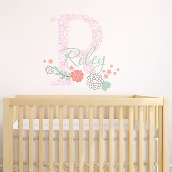 Girl's Flower Name Wall Decal
