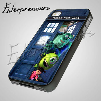 Monster Inc In Tardis dr Who Door - iPhone 4/4s/5 Case - Samsung Galaxy S2/S3/S4 Case - Black or White