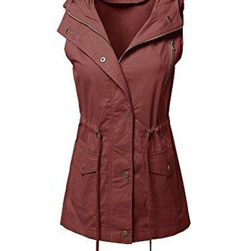 Made by Emma Womens Sleeveless Safari Military Utility Drawstring Hoodie Vest Jacket