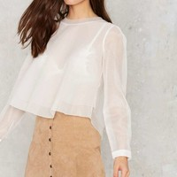 J.O.A. Multi Layer Mode Sheer Blouse