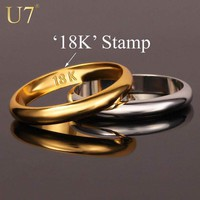 "Rings Gold s With ""18K"" Stamp Quality Real Gold Plated / Classic"