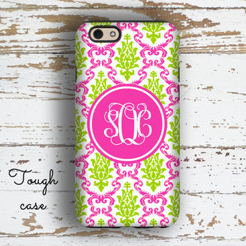 Cute iPhone 6 case, Monogram iPhone 5s case, Pink iPhone 5c case, Women's Iphone 6s case, Gifts for Her, Hot pink lime green damask (9767)