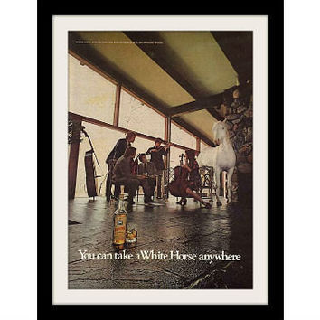 "1973 White Horse Scotch Ad 'Orchestra"" Vintage Advertisement Print"