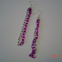 Chain link earrings fuschia silver gift female OOAKHandmade Jewelry
