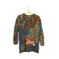 FOX knit sweater Long Green oversize animal sweater. Woodland Hunting animal nature sweater. Thick knit slouchy pullover. Medium