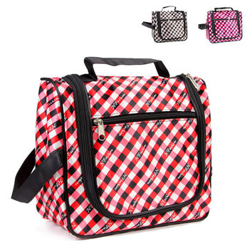 Elegant Plaid Ladies Waterproof Portable Storage Bags Toiletry Kits [8116028487]