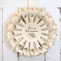 MTO Merry Christmas Ivory Vintage Book Wreath by SimpleJoysPaperie