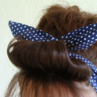 Dolly Bow Reversible Wire Headband Navy Blue with Tiny Polka Dots Rockabilly Pin Up Hair Accessory for  Teens Women Girls