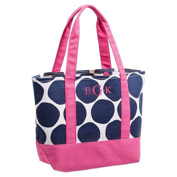 Surf Swell Beach Tote, Navy Oversized Dot/Pink Trim