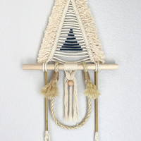 "Macrame Wall Hanging ""SAKUYA no.14"" by HIMO ART, One of a kind Handcrafted Macrame/Rope art"