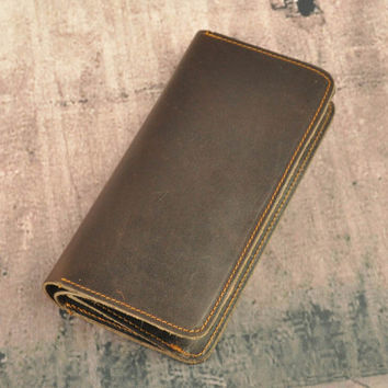 retro 100% handmade genuine leather long wallet vintage card hold gift 27