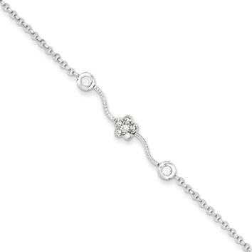 925 Sterling Silver Clear CZ Stone Curvy Flower Girls Bracelet