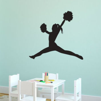 Cheering Girl Wall Sticker 97x77cm DIY Decorative Sports Wall Decal Removable Wall Decors