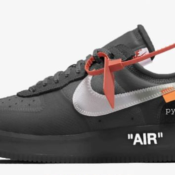 BC AUGUAU Nike Air Force 1 Low Off-White Virgil Abloh Black White 2018 AO4606-001