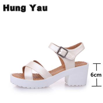 Women Platform Sandals Plus Size 45 Gladiator Woman Open Toe Shoes Summer Style Hollow
