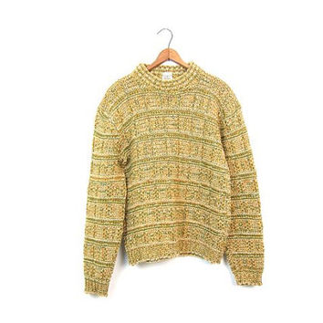 Chunky Knit Sweater 50s Yellow Green Thick Knit Wool Sweater Textured Loose Knit Bulky Fall Sweater Boho Grunge Pullover Women Medium