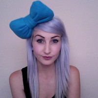 HELLO KITTY inspired dark turquoise teal blue poofy Amme B's original bow