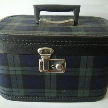 Vintage Makeup Case Plaid Blue an Green Travel