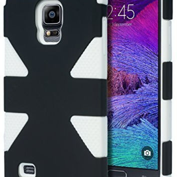 Samsung Galaxy Note 4,   Hybrid White Silicone with Black  Case