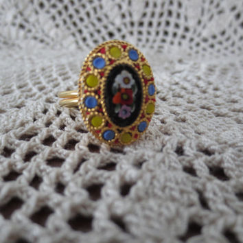 Vintage Italian Glass Gold Micro Mosaic Ring