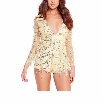 Women's Elegant Long Sleeve Gold Sequin Party Romper