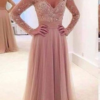 2016 Charming Prom Dress A Line Bridesmaid Dress Prom Dress with Long Sleeves Evening Dress with Long Sleeves TH988