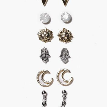 Isla Arrow And Moon Mixed Stud Earring Set | Boohoo