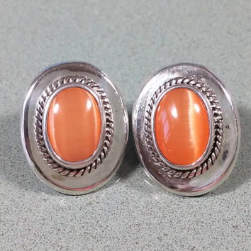 Vintage Cats Eye Orange Moonstone Earrings Stone Bezel Set Sterling Silver Natural Shiny Polished Smooth Cool Delicious Orange Not Ordinary