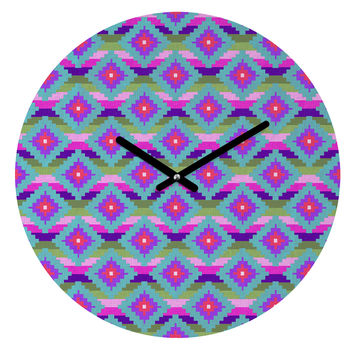 Bianca Green Aztec Diamonds Teal Round Clock