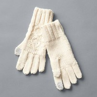 Gap Women Honeycomb Cable Knit Gloves Size One Size