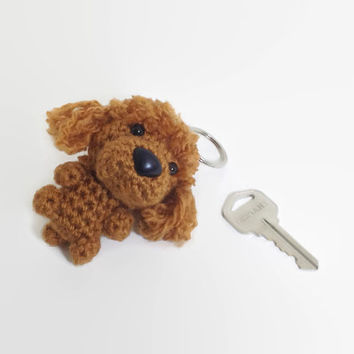Poodle Keychain Red Crochet Charm Dog Pet Lover Gift Amigurumi Accessory Plush