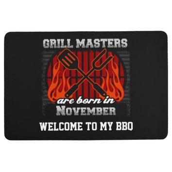 Grill Masters Are Born In November Personalized Floor Mat