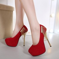 Suede Stiletto Heel Round Toe Chain Decorate High Heels Prom Shoes