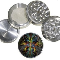 Fashion Weed Design Medium Size 4pcs Aluminum Herbal or Tobacco Grinder # 110514-0035