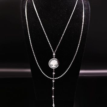 2017 Tree of Life Stainless Steel Pendant Necklace Women Jewelry Silver Color Long Necklace Jewlery collares largos N17825