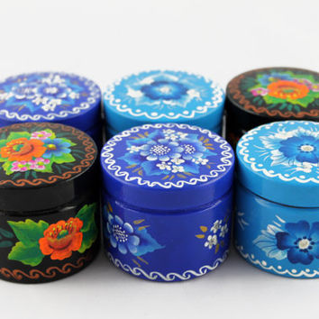 Lot of 6 Boxes Round Decorated Hand Painted Handmade Souvenir Gift Handicraft