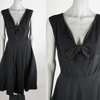 Vintage 50s Dress / 1950s Minimalist Black Cotton Low Cut Dress L