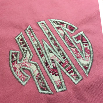 Long Sleeve Applique Monogram Shirt, Women's Monogram Shirt, Long Sleeve Tshirt, Applique Initial Shirt