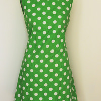 Vintage 1960s Mod Dress, with Green and White Polkadots