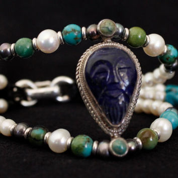 Carved face Lapis Lazuli bracelet, AAA gemstones bracelet, colorful jewelry,  black pearls turquoises and corals, SOMgallery design, silver