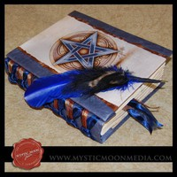 Woodland Shimmering Sapphire-XL Handmade Book of Shadows- Journal- Quill Pen | MysticMoonMedia - Paper/Books on ArtFire